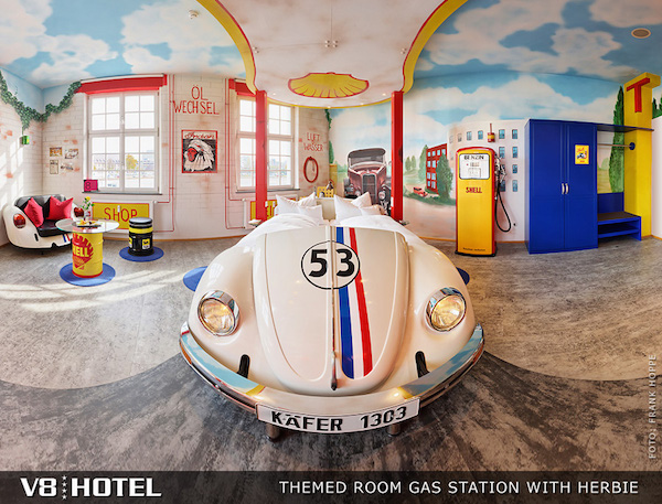 V8Hotel - the automotive themed room GAS STATION WITH HERBIE. V8 Hotel in the MOTORWORLD Region Stuttgart on the former airfield Boeblingen.